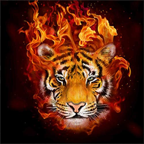 MXJSUA DIY 5D Diamond Painting by Number Kits Full Round Drill Rhinestone Embroidery Cross Stitch Picture Art Craft Home Wall Decor Flame Tiger 12x12In ()