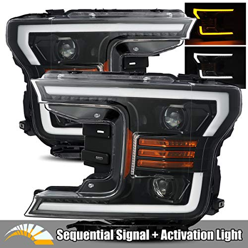 2019 Projector Headlights - AlphaRex Polished Black Fit 18-20 Ford F150 Halogen Type LED Tube Dual Projector Headlights with Switchback DRL/Sequential Signal/Activation Light