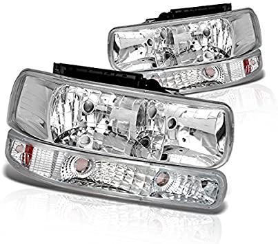amazon com instyleparts clear lens headlights bumper light set with chrome housing made for chevy silverado tahoe suburban automotive instyleparts clear lens headlights bumper light set with chrome housing made for chevy silverado tahoe suburban