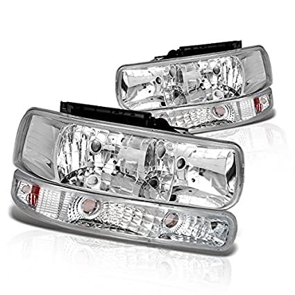 Instyleparts Clear Lens Headlights Bumper Light Set with Chrome Housing  Made For Chevy Silverado Tahoe Suburban