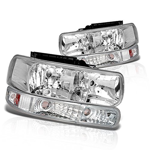 Instyleparts Chevy Silverado Clear Lens Headlights Bumper Light Set with Chrome Housing