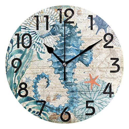 (Naanle Vintage Nautical Sea Horse Starfish Old Map Round Wall Clock, 9.5 Inch Battery Operated Quartz Analog Quiet Desk Clock for Home,Office,School)