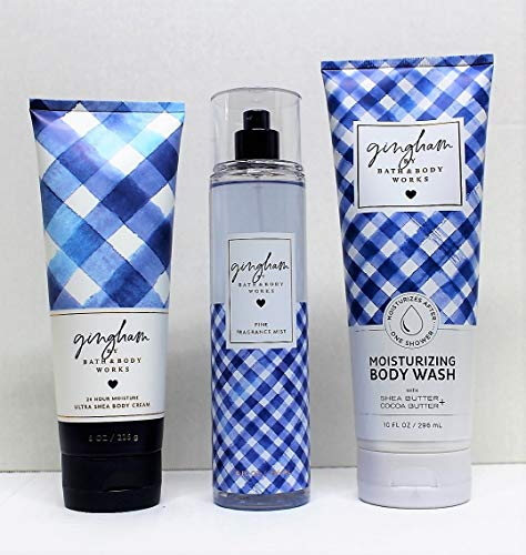 Bath and Body Works - Gingham - 3 pc. Gift Set - Ultra Shea Body Cream, Fine Fragrance Mist and Moisturizing Body Wash (2019)