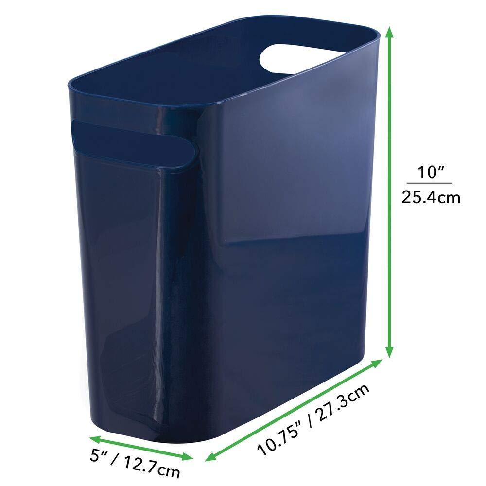 Transparente//Plateado Oficina y Cocina con Espacio Suficiente para los residuos Cubo de Basura Compacto Papelera para ba/ño mDesign Papelera de pl/ástico Redonda