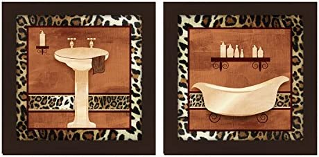 PTM Images 「Bath with Light Cheetah Border」アートワーク、14×14インチ、エスプレッソ、2個セット