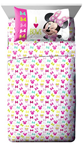 Jay Franco Disney Minnie Mouse Bigger Bow 3 Piece Twin Sheet Set