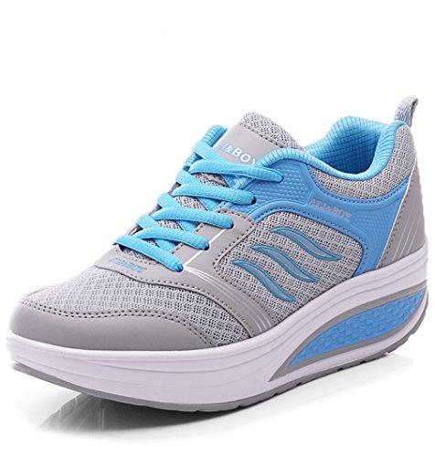 Orlancy Women's Mesh Wedge Sports Shoes Slip On Lightweight Fitness Walking Sneakers Size US4-11 Blue 1-420