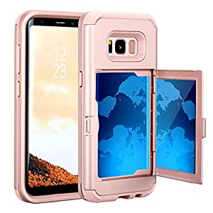 TabPow Galaxy S8 Case, Hidden Door Slim Wallet Case, Fits 2 Cards and Cash, Reinforced Drop Bumper Protection, Open Mirror, Front Frame Screen Protection For Samsung Galaxy S8 (2017) -Rose Gold