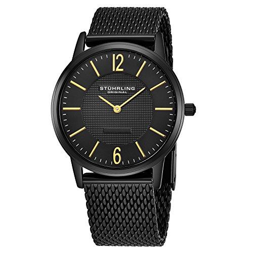 Stuhrling Original Men's 122.33551 Classic Ascot Somerset Elite Ultra Slim Black Mesh Bracelet Watch ()