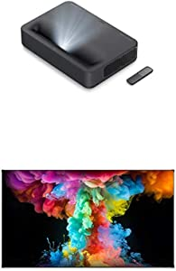 Bundle: VAVA 4K UHD Laser TV Home Theatre Projector (Black) + VAVA ALR Projector Screen