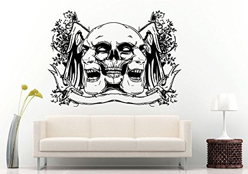 Wall Vinyl Sticker Room Decals Mural Design Masks Theater Two Faces bo1207 ()
