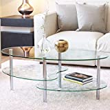 Mecor Glass Coffee Table 2 Tire Tempered Glass Boards & Sturdy Chrome Stainless Steel Legs-Transparent Oval Glass End Table Coffee Tea Table Ideal Home Office