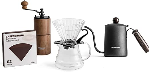 He-art Juego preparación café para Verter con Filtro Papel Goteo Vidrio Molinillo café Manual y hervidor Cuello de Cisne de 600 ml Diseñado específicamente para cafetera de Pendientes pronunciadas,B: Amazon.es: Hogar