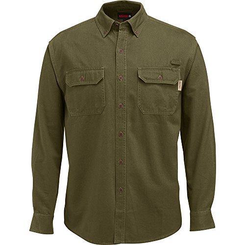 Wolverine Men's Fletcher Soft and Rugged Twill Long Sleeve Shirt, Olive, ()