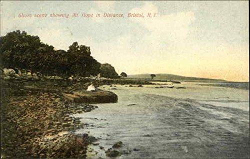 Shore scene showing Mt. Hope in Distance Bristol, Rhode Island Original Vintage Postcard by CardCow Vintage...