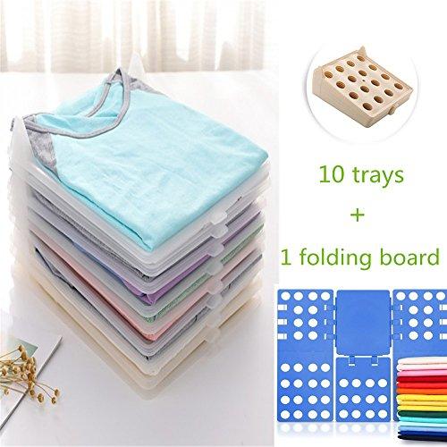 Khaki Mix (Closet Organizer, V-mix Clothes/T-Shirt Underwear Folder with 10-Piece Adjustable Separate Board (Khaki+ Shirt Folder))