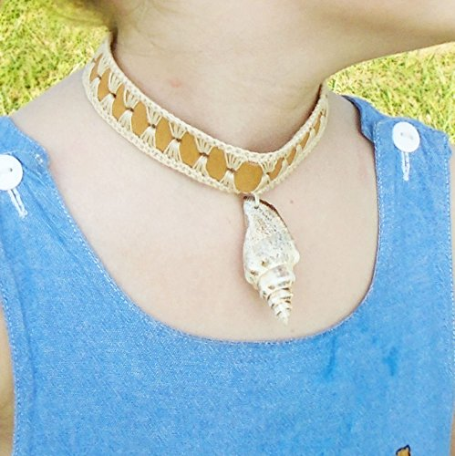 Girls Seashell Leather Choker Necklace