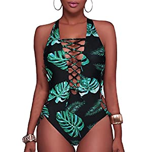 Holipick Women Sexy One Piece Swimsuits Lace up Plunge Monokini Criss Cross Bathing Suits Strappy Cross Back Swimwear