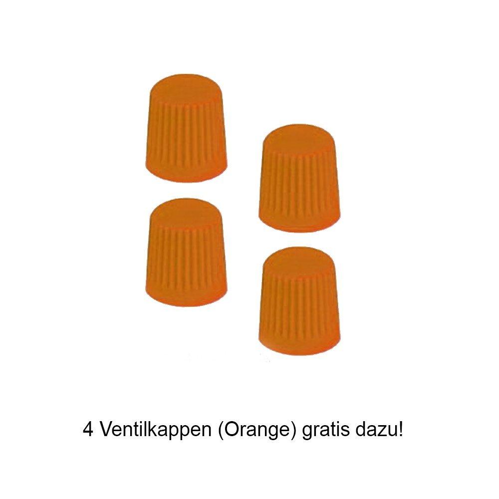 4 Ventilkappen. passend f/ür fast alle Fahrzeuge inkl Radkappen 16 Zoll ORDEN R Schwarz//Orange