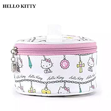 36262f035eff Amazon.com   Hello Kitty Women Portable Cute Hello Kitty Round Cosmetic Bag  Multifunction Beauty Zipper Travel Make Up Toiletry Pouch Cosmetic Case    Beauty