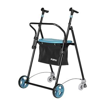 Andador para Ancianos, de acero plegable, con Frenos traseros, con Cesta Asiento y Respaldo, color Esmeralda