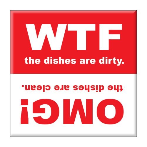 Clean Dirty Dishwasher Magnet Sign Indicator - OMG and WTF - Funny Novelty Gag Gift Idea