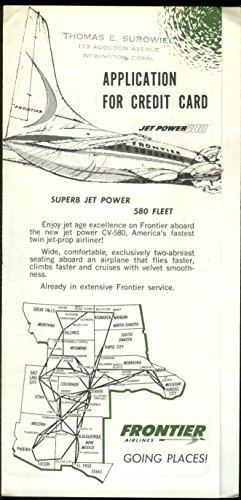 Frontier Airlines Jet Power 580 Credit Card Application airline mailer 1960s