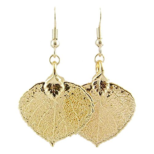 - Gold-Plated Aspen Leaf Earrings