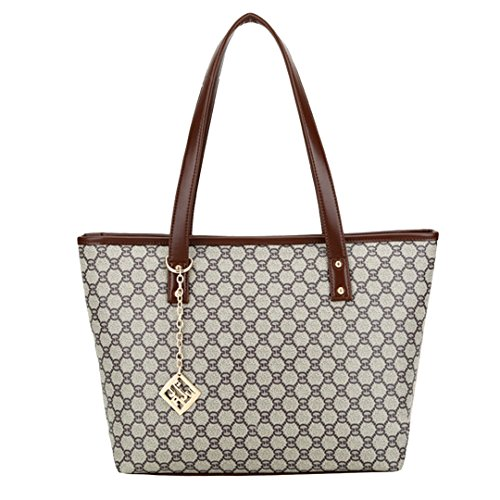 Novias Fashion Women Travel Tote Shoulder Bag Handbag Top-handle Bag Shopper Christmas Gift(Brown 1) (Quilted Shopper Tote compare prices)