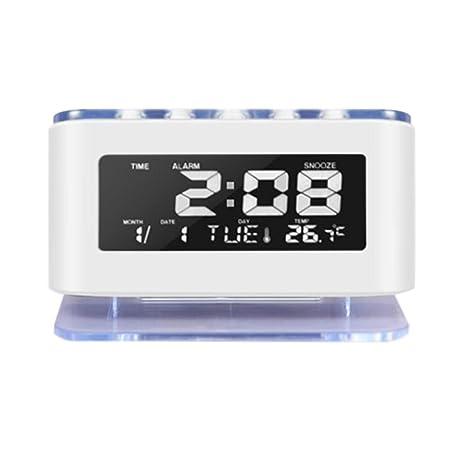 ES-BLUS Despertador Led Digital Reloj Batería Temperatura Fecha Y Hora Pantalla, Blanco