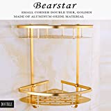 Bearstar Space Aluminum Wall Mounted 2-Tier Corner Shelf Shower Caddy Utility shelves with Hook for Bathroom Kitchen,Polished Golden