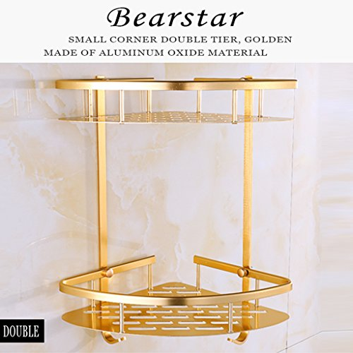 Bearstar Space Aluminum Wall Mounted 2-Tier Corner Shelf Shower Caddy Utility shelves with Hook for Bathroom Kitchen,Polished Golden by Bearstar