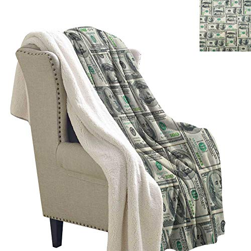 Suchashome Money Fluffy Blanket Throw Dollar Bills of United States Federal Reserve with The Portrait of Ben Franklin Lightweight Fluffy Flannel and Sherpa Blanket 60x78 Inch Pale Green Grey ()