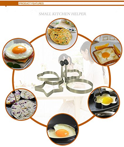 Alphabet Casting Mold (Money coming shop 4pcs/lot Egg Mold Stainless Steel Round Flower Heart Shape Omelette Mould Biscuit Frying Egg Rings Mold Cooking Breakfast)