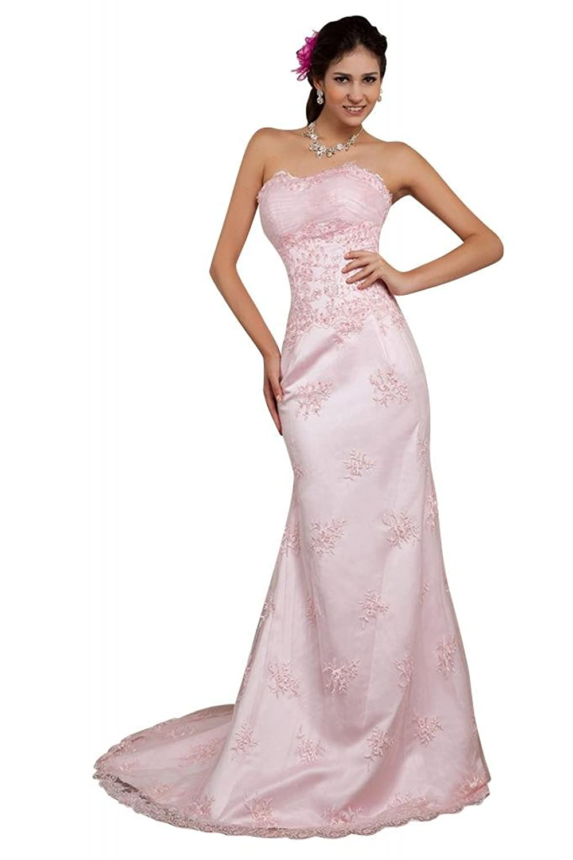 GEORGE BRIDE Sheath Strapless Lace Long Evening Dress