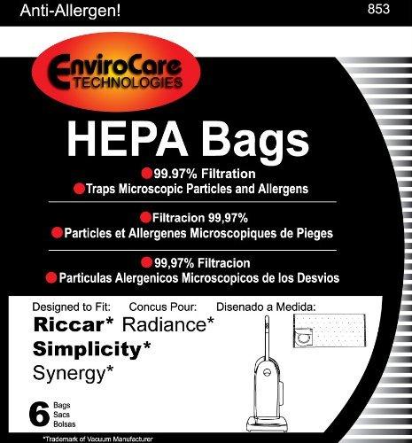 Riccar Radiance HEPA Vacuum Cleaner Bags, 6 Bags per Package