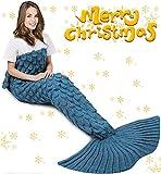 Mermaid Tail Blanket Knitted Mermaid Sleeping Bag Crochet Mermaid Blanket ,Soft All Seasons Sleeping Blankets Best Gifts for Girls Women Throw Blanket Classic Pattern Blue (Blanket for Adult)
