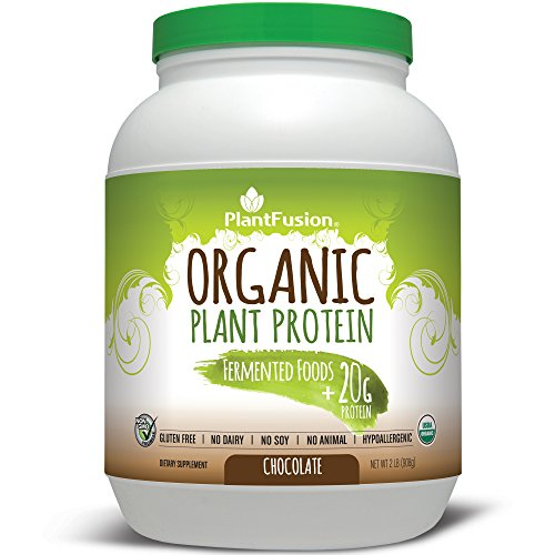 PlantFusion Organic Plant Based Protein & Fermented Foods Powder, Chocolate, 2 lb Tub, 30 Servings, 1 Count, USDA Organic, Vegan, Gluten Free by PlantFusion
