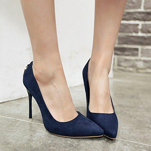 sottile unico solido alta 10 ultra le scarpe poco temperamento video bocca con 40 fine con punta di profonda scarpe cm carriera raso Colore blu xPYqFSfF