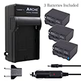 Arche NP-F970 NP F975 F960 F950 Battery <3 Pack> and Rapid Charger Set for [Sony DCM-M1 MVC-CD1000 HDR-FX1 DCR-VX2100E DSR-PD190P NEX-FS700RH HXR-NX3 HVL-LBPB and More Camcorder]