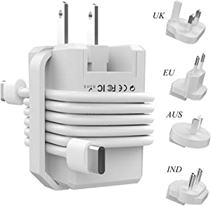 18W USB C Wall Charger International Travel Charger Adapter Compatible with US European UK AUS IND, Roiskin 3.0 Fast Charging USB C Plug for Tablet, iPhone, iPad, Cellphone, Google Pixel