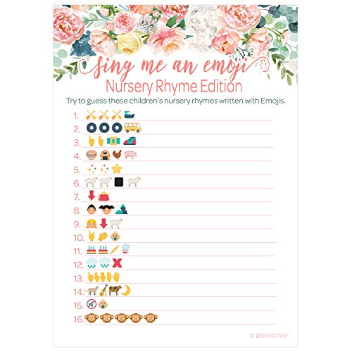(Pink Floral Baby Shower Nursery Rhyme Emoji Game - 20 Guests)