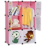 LANGRIA 6-Cube Cabinet Storage Unit Organiser for Kids Stackable Plastic Cube Shelves Multifunctional Modular Cupboard Wardrobe with Animal Cartoons on Doors for Clothes Shoes Toys School Bags (Pink)