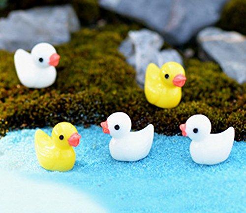 Smilesky Miniature Duck Figure Animal Toys Fairy Garden Office Decorations White Yellow 0.6