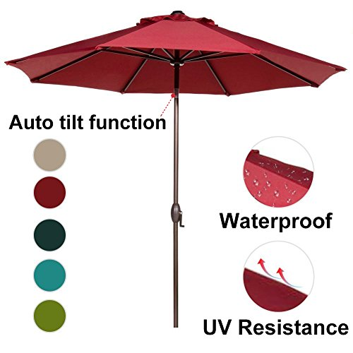 Abba Patio 9 Feet Patio Umbrella Market Outdoor Table Umbrella with Auto Tilt and Crank, Red (Umbrellas Tilting Sale Patio)
