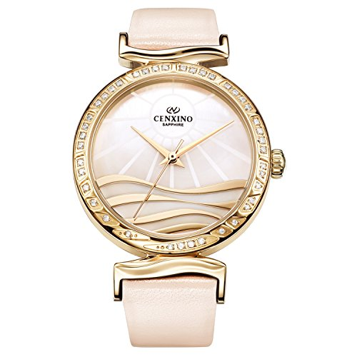 CENXINO Women's Fashion Casual Leather Belt Watch with Synthetic Sapphire Lens (Creamy - Creamy Lens