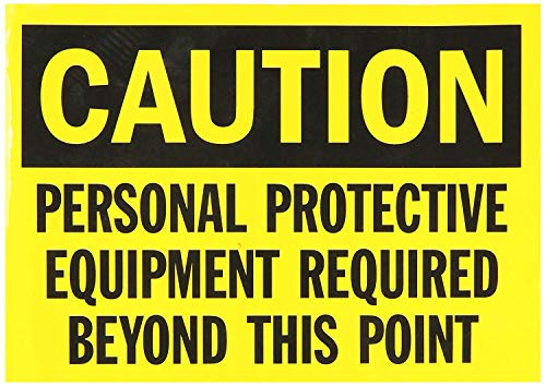 Isaric Tin Sign Safety Sign, Legend Caution: Personal Protective Equipment Required, Black on Yellow Metal Signs 8 x 12…