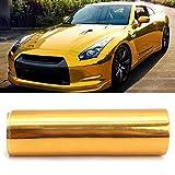 MONNY PVC Car Sticker Gold Golden Chrome Mirror Vinyl Wrap Film Decal Bubble Free Air Release DIY Car Styling 10150cm