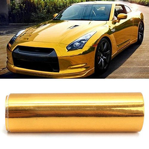 MONNY PVC Car Sticker Gold Golden Chrome Mirror Vinyl Wrap Film Decal Bubble Free Air Release DIY Car Styling 10150cm by MONNY