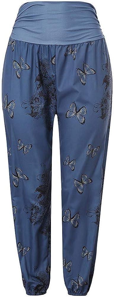 Weite Bein Lange Pumphose Boho Haremshose Broadwage Damen Schmetterling Muster Hose Mit Taschen Freizeithose Fr/ühlinghose Yogahose Hippie Hose Damen Pants Hose Oceanside Pants